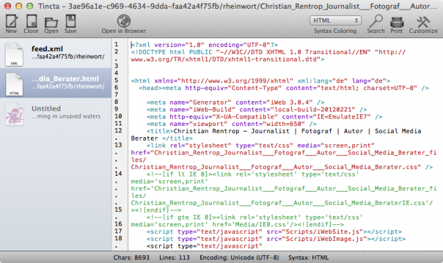 Tincta Text Editor für Mac OS X